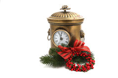 Christmas decorated vintage clock isolated on white Stock Photos