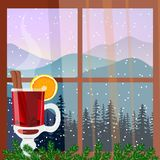 Christmas decorated window with hot mulled wine. Winter landscape with silhouettes of mountains and forest. Vector Stock Photography