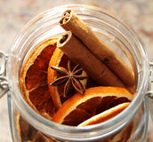 Christmas decorati-Dried oranges placed in the jar Stock Photo