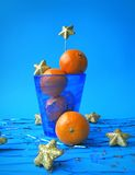 Christmas decorating. Christmas still life with tangerines Stock Images