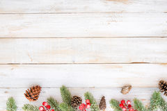 Christmas decorating elements and ornament rustic on white wood table Stock Photos