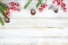 Christmas decorating elements and ornament rustic on white wood table with snowflake. Stock Images