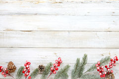 Christmas decorating elements and ornament rustic on white wood table with snowflake. Christmas background - Christmas decorating elements and ornament rustic stock photography