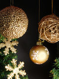 Christmas decoration. With a golden balls royalty free stock image