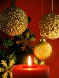 Christmas decoration. With a red candle royalty free stock photography