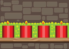 Christmas decoration. Illustration of christmas candles, decoration over brick wall background Royalty Free Stock Photos
