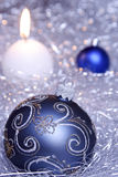 Christmas decoration. In blue and silver Stock Images
