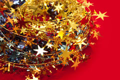 Christmas decoration. With red background Royalty Free Stock Image
