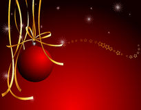 Christmas decoration. Darkly red illustration with Christmas decoration and tiny golden stars Stock Photography