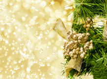 Christmas decoration. Christmas decoriation on beautiful golden background Royalty Free Stock Photos