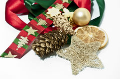 Christmas decoration. In gold, red and green Royalty Free Stock Image