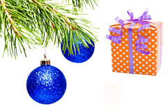 Christmas decoration. Christmas decoration isolated on the white background. (Present -With Clipping path Stock Photo