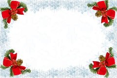 Christmas decoration. With snowflakes, fir,ribbon and copy space Royalty Free Stock Photo