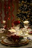 Christmas decoration. Table set up for holiday celebration Stock Image