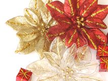 Christmas Decoration. Shot of Christmas decoration.  Three poinsettia with some gifts over white Stock Photos