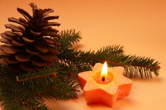 Christmas decoration. S on an orange background Royalty Free Stock Photos