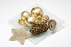 Christmas decoration. On a glass plate Stock Images