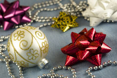 Christmas Decoration. Bauble, ribbon and beads Stock Image