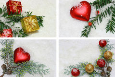 Christmas decoration. Four Christmas decorations with snow royalty free illustration