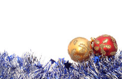Christmas decoration. Christmas Baubles with silver tinsel Stock Images