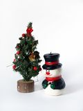 Christmas decoration. Christmas tree and snowman over white Stock Images