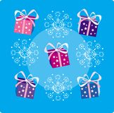 Christmas decoration. Of snowflakes and gifts vector illustration