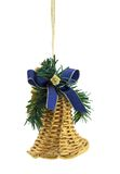 Christmas Decoration. The golden bell is isolated on a pure white background Royalty Free Stock Photography
