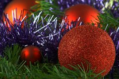 Christmas decoration. Red balls on the pine with blue garland close up Royalty Free Stock Photos