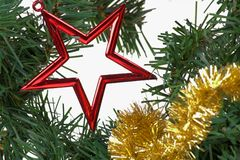 Christmas decoration. Gold garland, red star on the pine with white background Royalty Free Stock Image
