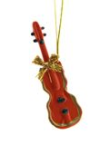 Christmas Decoration. A red violin is isolated on a pure white background Stock Images