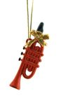 Christmas Decoration. A red trumpet is isolated on a pure white background Royalty Free Stock Photos