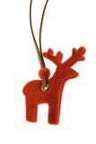 Christmas Decoration. A red reindeer is isolated on a pure white background Royalty Free Stock Photo