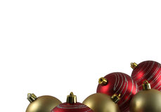 Christmas decoration. 3 christmas decorations over white background Royalty Free Stock Photos