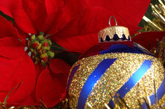 Christmas decoration. Christmas blue and gold decoration Stock Photography
