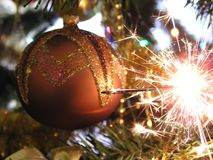 Christmas Decoration. Sparklers Royalty Free Stock Photo