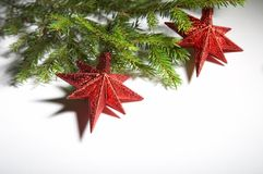 Christmas decoration. Christmas tree branch with  decoration Stock Photo