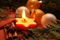 Christmas decoration. S, candle and needles Stock Photography