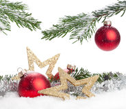Christmas Decoration. Christmas bauble, stars and snow isolated on a white background Stock Photo