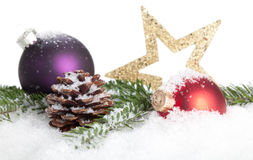 Christmas Decoration. Christmas bauble, stars and snow isolated on a white background Royalty Free Stock Photos