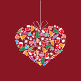 Christmas decoration. Illustration of Christmas decoration in heart shape Stock Photo