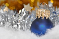 Christmas decoration. Christmas background with blue Christmas decoration Royalty Free Stock Photos