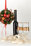 Christmas decoration. Romantic Christmas decoration with wine Stock Images