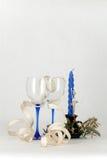 Christmas decoration. Romantic Christmas decoration with wineglasses Stock Image