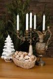 Christmas decoration. Romantic Christmas decoration with wine Royalty Free Stock Image