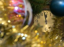 Christmas decoration. With a clock Stock Image