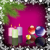 Christmas decoration. Fur tree, candles and balls, vector stock illustration