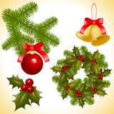 Christmas decoration. Collection of  objects of Christmas ornaments. coniferous decoration. balls, bell and trefoil with berries Stock Photos