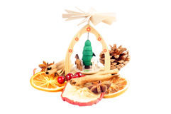 Christmas decoration. Pyramid and Christmas decorations on a white background Royalty Free Stock Photography