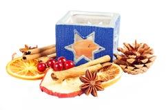 Christmas decoration. Tea light holder with christmas decoration Royalty Free Stock Photos