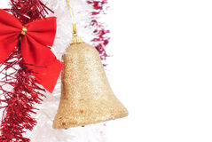 Christmas decoration. Chritmas decoration with tinsel and ribbon on white background Royalty Free Stock Photo